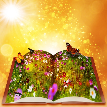 Fairy tales from magic book. Abstract fantasy backgrounds with beauty bokeh photo