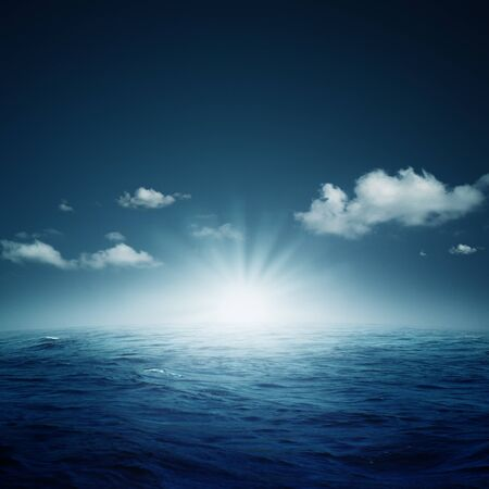 indigo: Nightly ocean. Abstract natural backgrounds Stock Photo