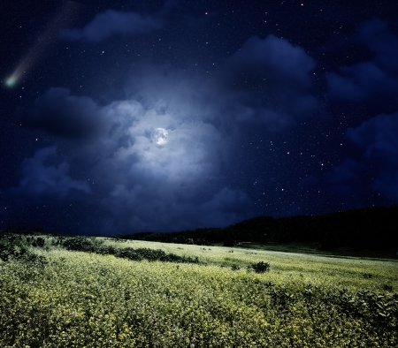 field sunset: Nightly meadow. Natural summer backgrounds with comet and full moon Stock Photo