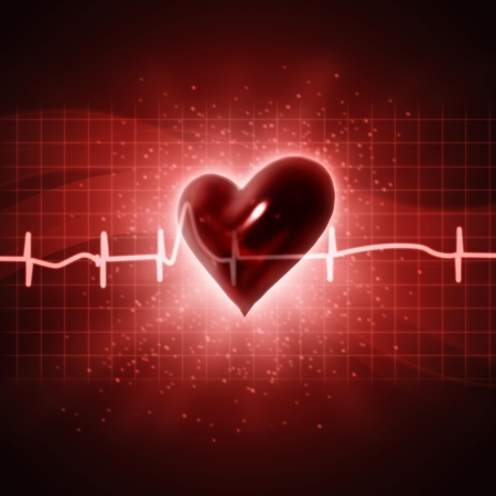 human heart abstract: ECG abstract backgrounds with human 3D rendered heart Stock Photo