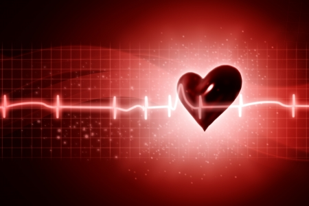 ECG abstract backgrounds with human 3D rendered heart photo