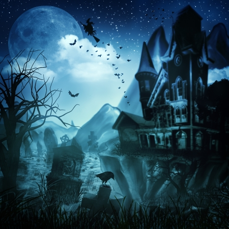 scary forest: Abstract Halloween backgrounds for your design Stock Photo