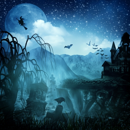 spooky tree: Abstract Halloween backgrounds for your design Stock Photo