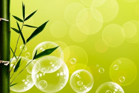 goutte de pluie: Abstrait spa oriental avec des bulles de bambou et de l'eau