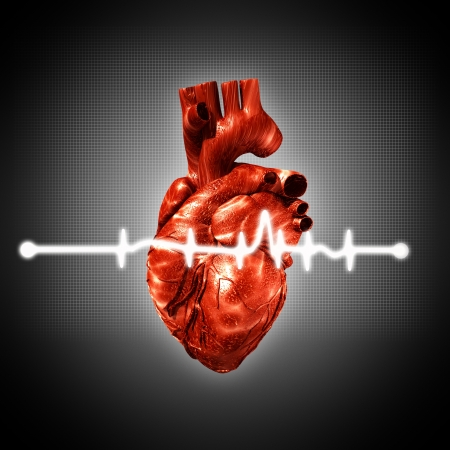 Medical abstract backgrounds with human 3D rendered heart photo