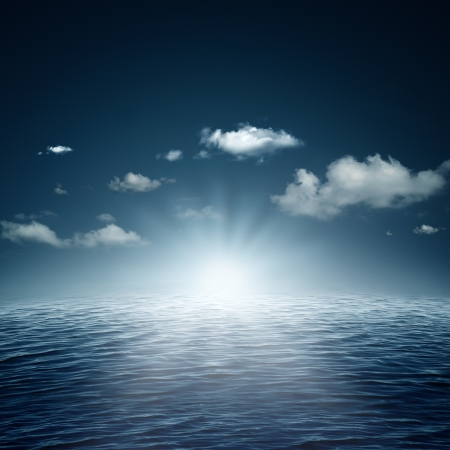water scape: Evening time on the ocean, natural backgrounds