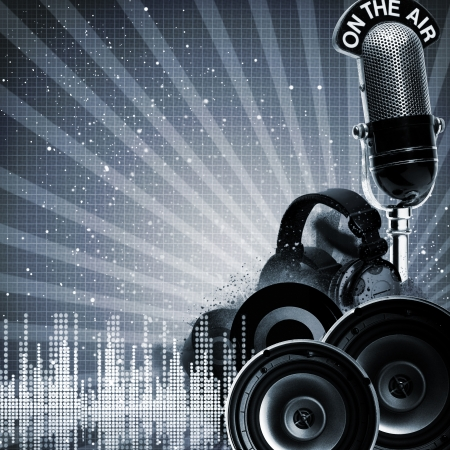 radio microphone: Abstract disco and party backgrounds with copy-space for your design Stock Photo