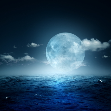 water scape: Night on the sea, natural backgrounds