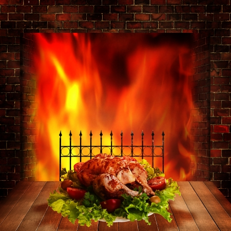 greenness: Grilled chicken. Abstract food backgrounds for your design