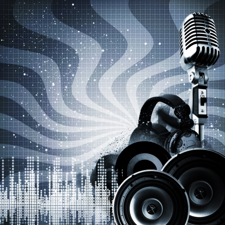speakers: Abstract DJ backgrounds with copy-space for your design Stock Photo