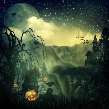 misty forest: Scary Movie  Abstract halloween backgrounds for your design Stock Photo