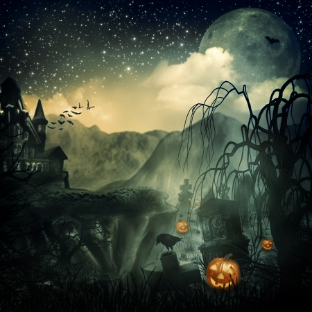 spooky tree: Scary Movie  Abstract halloween backgrounds for your design Stock Photo