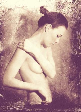 naked black women: Naked Beauty. Grunge female portrait for your design