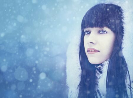 Winter girl. Beauty female portrait with copy space Stock Photo - 16592002