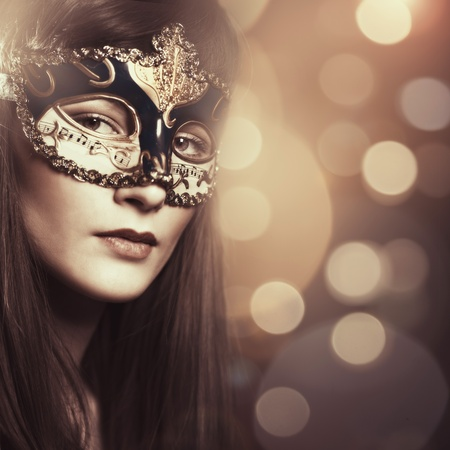 Carnival. Female portrait with beauty bokeh for your design photo