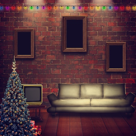 Abstract interior with xmas decoration for your design photo