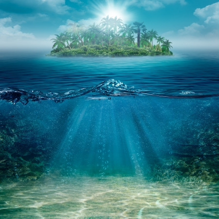 water scape: Alone island in the ocean, abstract natural backgrounds