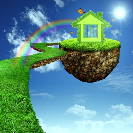 clean street: Funny Green House. Abstract eco backgrounds for your design Stock Photo
