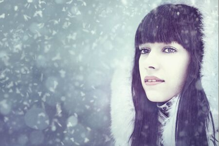 Winter fresh. Female portrait with copy space for your design photo