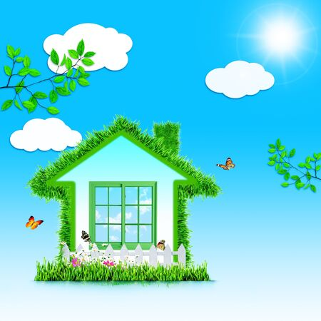 Funny Green House. Abstract eco backgrounds for your design photo