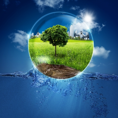 clean environment: Green world into the bubble  Abstract natural backgrounds for your design Stock Photo