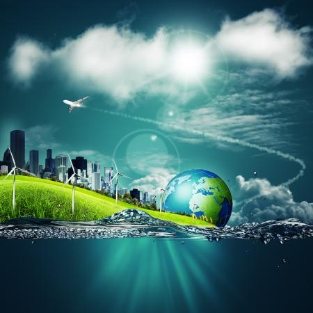 paz mundial: Fondos abstractos del ecosistema bajo los cielos azules para el diseño de su Foto de archivo