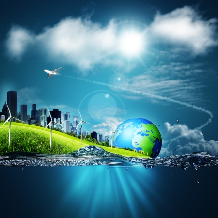 water pollution: Abstract ecosystem backgrounds under the blue skies for your design Stock Photo