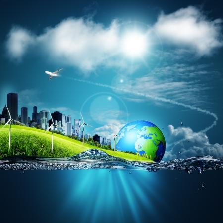 ahorrar agua: Fondos abstractos del ecosistema bajo los cielos azules para el dise�o de su Foto de archivo