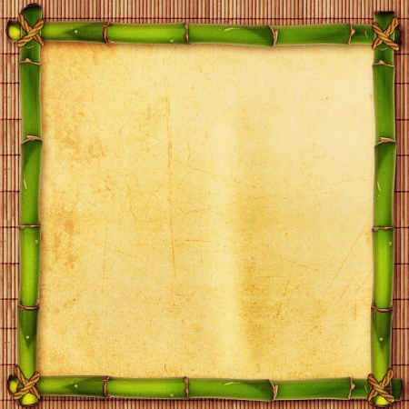 bamboo frame: Bamboo shape with parchment over old japanese carpet