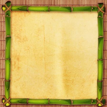 japones bambu: De bambú con forma de pergamino sobre la alfombra japonés antiguo Foto de archivo