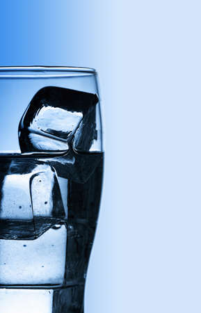Glass with fresh cool water and ice Stock Photo - 17655906
