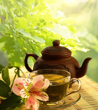 forest tea: tea ceremony. Green tea, flower and teapot Stock Photo