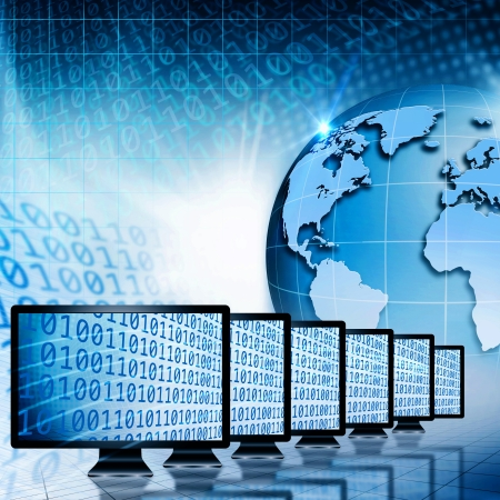 virtual office: Global communications and internet. Abstract technology backgrounds