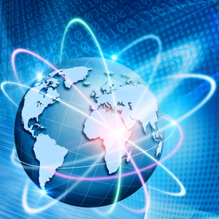 internet traffic: Orbit of comminications. Abstract technology backgrounds