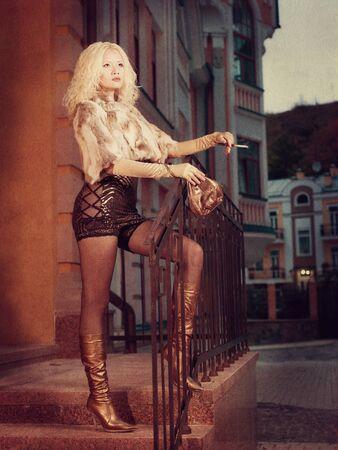 Beauty Evening. Grungy female portrait for your design photo
