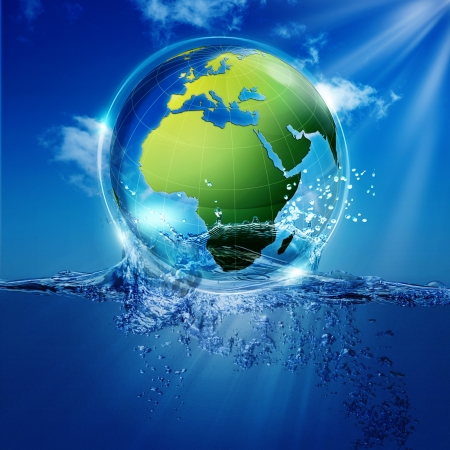 water surface: Save the world. Abstract environmental backgrounds for your design