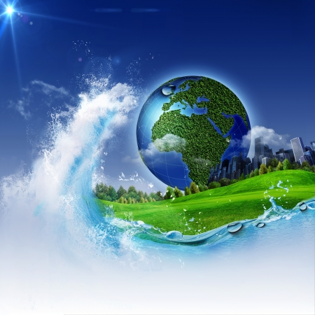 save water: The wave of life. Abstract environmrntal backgrounds for your design Stock Photo