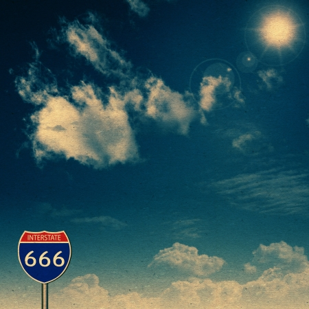 Interstate 666. Abstract vintage backgrounds with old cardboard texture photo