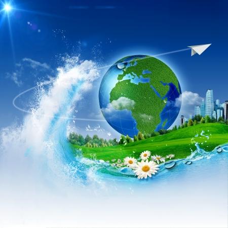 ekosistem: Hayatın dalgası. Tasarım için Özet environmrntal arka Stok Fotoğraf