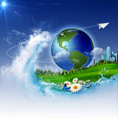 save the earth: The wave of life. Abstract environmrntal backgrounds for your design Stock Photo