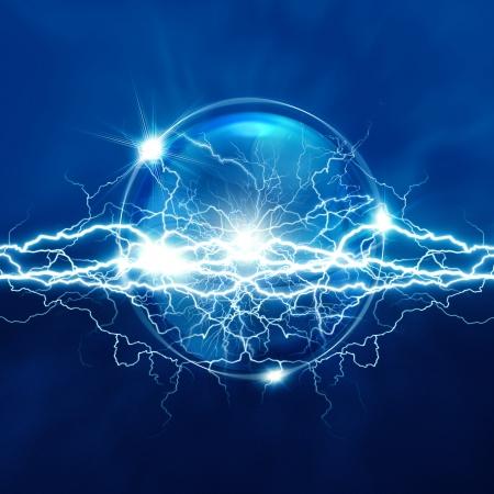 Magic kristallen bol met elektrisch licht, abstracte achtergronden Stockfoto