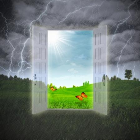 door leaf: Door to the Summer, abstract environmental backgrounds