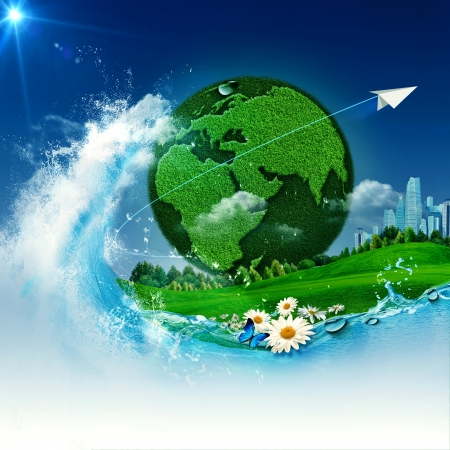 Green Earth  Abstract environmental backgrounds for your design photo