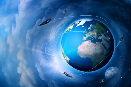 Blue Earth, abstract techno end environmental backgrounds Standard-Bild