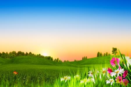 Beauty evening. Abstract natural landscape Standard-Bild