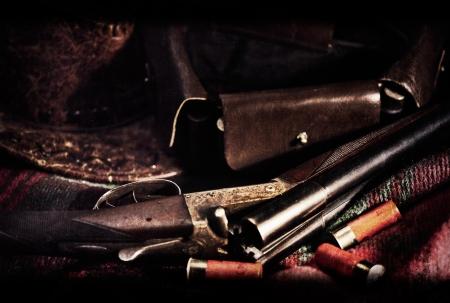 Film Noir  Art vintage hunting backgrounds with old film added texture Standard-Bild