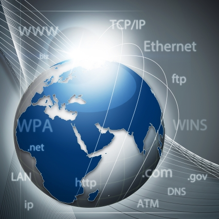 Global information network, abstract techno backgrounds photo
