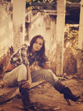 Cowgirl. Vintage styled female portrait photo