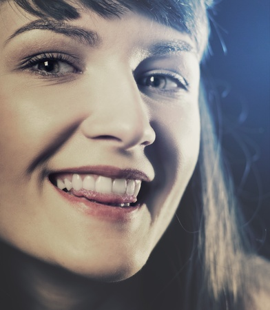 attractive gorgeous: Funny retro styled female portrait with backlit Stock Photo