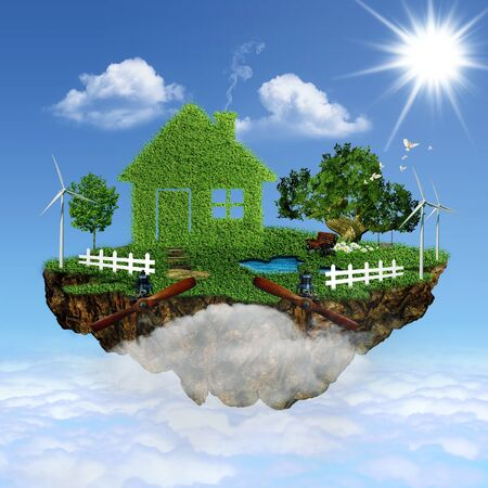 clean air: Flying House. Abstract eco backgrounds for your design